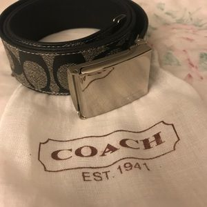 Coach Signature Heritage Canvas Belt Gray